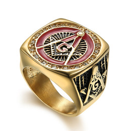 $enCountryForm.capitalKeyWord NZ - Best hotsale unique design freemaoson masonic rings past master ring with crystal stones red enamel sun surround religious ring