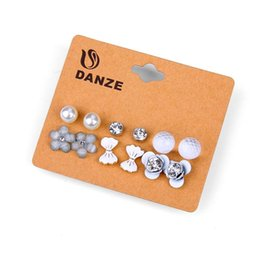 China DANZE 6 Pairs  lot Crystal Heart Bowknot Stud Earring Set Women Claires Butterfly simulated Pearl ear studs Brincos Jewelry suppliers