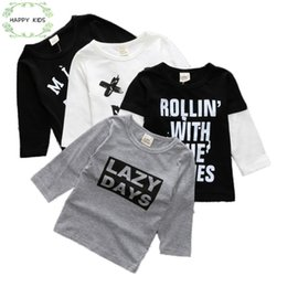 Cotton Tale Baby NZ - Kids Tales unisex t-shirt Children T shirt Baby Girl Long sleeve pullover shirts Blouse clothes kids Letter cotton Tee