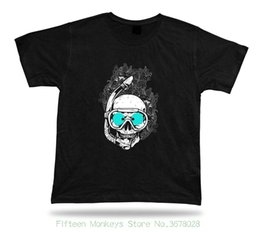 Neck Gear Australia - Round Neck T-shirt Skeleton Snorkeling Gear Moster Floral Awesome Tshirt Design Special Gift Tee