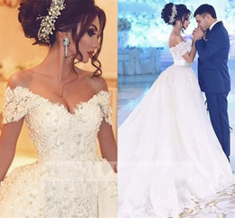 Discount beaded wedding dresses detachable skirt - luxury Arabic Wedding Dresses with Detachable Skirt Appliques Beaded Pearls Dubai Wedding Dress Plus Size Bridal Gowns R