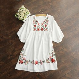 Vintage Mexican Embroidered Dress Australia - 2018 Hot Sale Vintage 70s Women Mexican Ethnic Embroidered Pessant Hippie Blouse Gypsy Boho Mini Dress Free Shipping D1891306