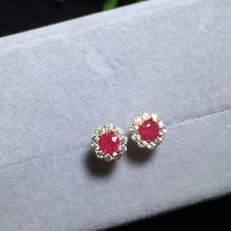 Wholesale natural red ruby stone stud earrings S925 silver natural gemstone earrings Compact round girl women s offEarrings jewelry