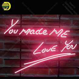 Discount bar signs for home - Neon Sign for new you made me love you Neon Bulb sign handcraft Real Glass tube windows Dropshipping bar lights Home Dec