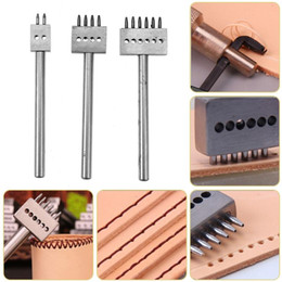 China craft Punching 3pcs Leather Punches Row Circular Cut Hole Stitched Hole Spacing 5mm 2 4 6 Prong Leather Punch Leather Craft Tools cheap shoes africa suppliers