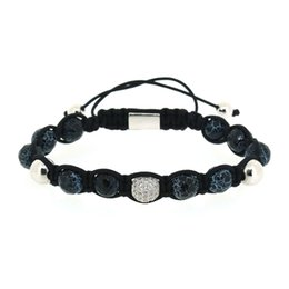 $enCountryForm.capitalKeyWord UK - 8mm Gun Black Silver Color Copper Insert Blue Pattern Stone Bead Round Black CZ Zircon Charm Adjustable Macrame Bracelet For Man