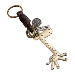 cute girls photo UK - HOT leather keychain cute small gift alloy giraffe retro weave keychain wholesale FREE SHIPPING for christmas gift