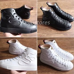 italian fabrics 2019 - Limited TOP Fashion Brand Ace Embroidered Black White Snake Genuine Leather Sneaker Luxury Shoe Italian Shoes Men And Wo