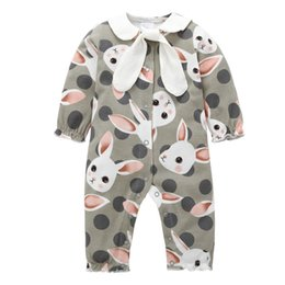jumpsuits rabbit girl NZ - 2018 New Baby Clothing Long Sleeve Rabbit Printed Romper Newborn Baby Girls Jumpsuit Infant Girls Spring Autumn One-Pieces Outfits Clothes