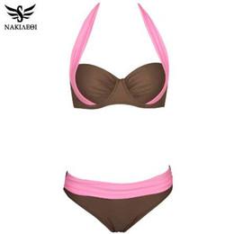 283c96bc37b NAKIAEOI 2018 New Sexy Bikinis Women Swimsuit High Waisted Bathing Suits  Swim Halter Push Up Bikini Set Plus Size Swimwear 4XL
