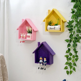 Small House Decoration Australia - American Style Colorful Small House Shaped Wall-mounted Flower Shelves Storage Rack Bedroom Living Room Wall Household Decorations