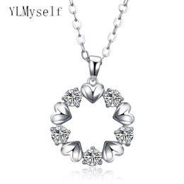 necklaces pendants Australia - Big round crystal pendant heart charm necklace lovely gift statement jewelry white suspension chain pendants