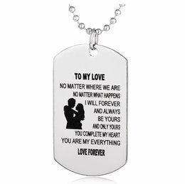 Discount dog christmas presents - Stainless steel necklace To My Love Couple necklace dog tag Pendant necklaces Love Forever Jewelry Valentine's Day
