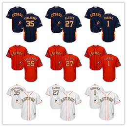 verlander jersey Australia - Men Youth Majestic Astros Jersey #1 Carlos Correa 27 Jose Altuve 35 Justin Verlander White Gold Program Kids Boys Baseball Jerseys