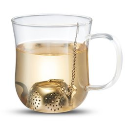 Chinese  Novelty Kitchen Gadgets Stainless Steel Teapot Shaped Tea Infuser Loose Leaf Spice Strainer With Chain And Drip Trays manufacturers