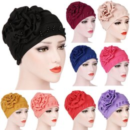 wholesale cotton yellow scarves 2019 - 2018 Women Beading India Hat Muslim Ruffle Cancer CheBeanie Scarf Turban Wrap newest style hot sale 10 color Cap discoun