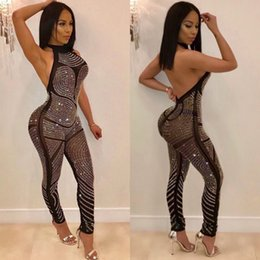 371a535934b Rhinestone jumpsuits online shopping - 2018 Sexy rompers women jumpsuit  sleeveless halter backless sequin jumpsuit rhinestone