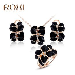black jewelry set studs NZ - ROXI Black Flower Crystal Stud Earrings Chain Necklace Ring Rose Gold Color Wedding Jewelry Set Romantic Wedding Gift