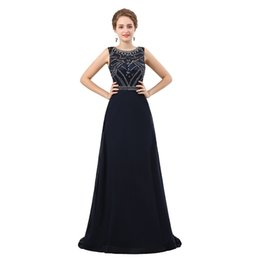 $enCountryForm.capitalKeyWord UK - Navy Blue A Line Long Evening Dress 2018 New Beading Crystal Sequins Sleeveless Floor Length Formal Prom Party Dresses Custom Made 17-6618