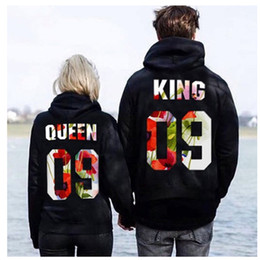 $enCountryForm.capitalKeyWord Australia - King 09 And Queen 09 Letter Print Couple Lovers Hooded Hoodies Multi Colors Pullovers Casual Mens Womens Sweatshirts Tracksuit