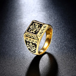 pandora gold 18k 2019 - 18K Gold Mens Gold Rings Carved Pandora Ring Fashion Wedding Bands Biker Rings Stainless Steel Jewelry Gothic discount p