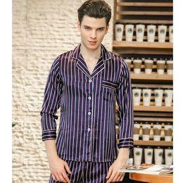e376dcfb260f5 2018 новый мужской пижамы пижамы набор Шелковый Itimation Атлас с длинным  рукавом мужчины домашний костюм синий и красный полосатый мягкая домашняя  одежда ...