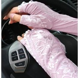 Summer Lace Modal Ice Silk Sleeves Sun Guantes Femeninos Thin Anti-UV Sleeves mangas del brazo Long Drive UV Protection WY212