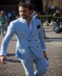 Plus Size Linen Suit Canada - 2 Pieces Men Fashion Linen men Suits Blue Linen Business Casual Blazer Dress Suits Male Wedding Groom Tuxedos Suits