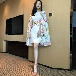 flowers fashion street style NZ - 2018 New fashion women's design star same style party print flowers poncho mantle cloak style medium long dress vestidos