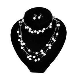 $enCountryForm.capitalKeyWord UK - Fashion Charm Women Pearl Pendant Chain Choker Collar Bib Necklace Jewelry Set T44