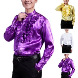 $enCountryForm.capitalKeyWord Canada - New Fashion Spring Autumn Men Dance Shirt Costume Long Sleeve Solid Color Ruffle Tops Vintage Man Night Party Fancy Blouse