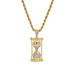$enCountryForm.capitalKeyWord NZ - New Arrivel Sand Clock Pendant Necklace Micro Cubic Zirconia Copper Jewelry Hiphop Men Jewelry For Gift