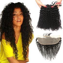 virgin hair kinky curly frontal 2019 - Malaysian kinky curly Hair With Frontal 13x4'' Human Curly Bundles with frontal Closure Malaysian Human Virgin
