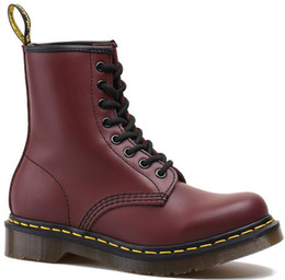Purple Martin Boots Australia - Women Classic Martin boots with 8 holes genuine cow leather female British lace up bow tie men and women lover's flat boots