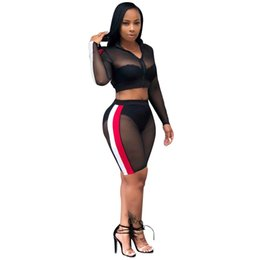 2018 New Women Sets Casual Long Sleeve Crop Tops and Skinny Pants Sexy  Solid Perspective Mesh 2 Piece Set 5e9e4d5f3