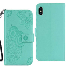 Owl Leather Iphone Case NZ - For Iphone XR XS MAX Galaxy Note 9 (J4 J6 A6 Plus)2018 Imprint Owl PU Leather Wallet Case Flower Lace Cute Card Slot Flip Covers Pouch Strap