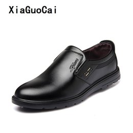 Slip Rubber Shoes Canada - XiaGuoCai Men dress Business shoes Spring Autum PU Leather Rubber Sole Breathable Waterproof Slip-On Hard-Wearing man shoes Father