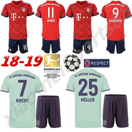 2018 2019 Bayern Munich FC Soccer Mats Hummels Jersey Set Bundesliga 9  Robert Lewandowski 11 James Rodriguez Red Football Shirt Kit Uniform 0202796ff