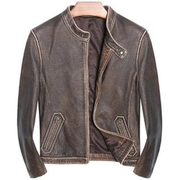2dc100e30f5 2018 Genuine Leather Jackets Men Vintage Business Casual Coat Brown Natural Real  Leather Bomber Jacket campera de cuero hombre