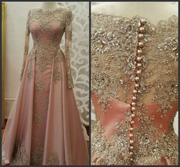 a29178f668 New dress party muslim online shopping - Blush Rose gold Long Sleeve  Evening Dresses for Women