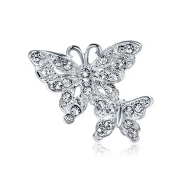 Rhinstone Buckles UK - Silver Crystal Butterfly Brooch Pins For Women Cute Small Size Rhinstone Lovely Animal Badge Sweater Backpack Hat Broach Scarf Buckle Brooch