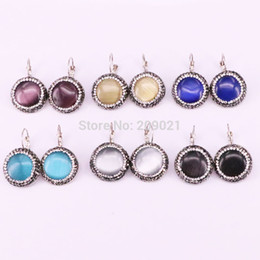 $enCountryForm.capitalKeyWord UK - New 8Pair Fashion Women Jewelry Mix Color Crystal Pave Cat Eye Stone Round Shape Earring For Women Gift