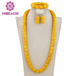 $enCountryForm.capitalKeyWord NZ - Yellow Artificial Coral African Beads Jewelry Set Long Bridal Necklace Jewelry Set Bridesmaid Gift Set CNR438