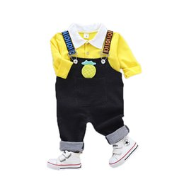 cute boy t outfits UK - 2018 Autumn Girl Boy Clothing Sets Baby Clothes Suits Infant Lapel T Shirt Cartoon Pineapple Strap Jeans Kid Child Casual Outfit