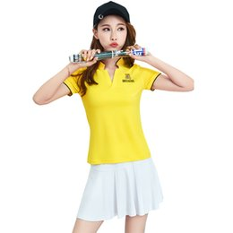 $enCountryForm.capitalKeyWord NZ - Tennis Suits For Women Two Piece Sport Outfits Short Sleeve Polo T Shirt Mini Skirt With Underpants #17883 Plus Size Badminton Clothes Women