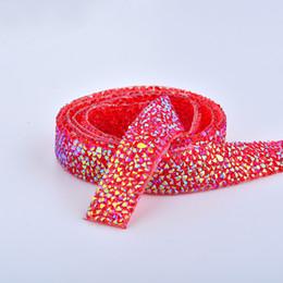 Chain Trim Yard Australia - JUNAO 5 Yard*15mm Red AB Hotfix Rhinestones Chain Bridal Beads Applique Trim Resin Crystal Strass Banding Mesh For Wedding Dress