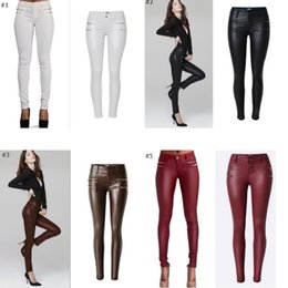$enCountryForm.capitalKeyWord Canada - Wholesale- Olrain Lady High Waisted Women's Sexy Faux Leather Stretch Skinny Pants Slim Jeans Trousers 12 STYLES
