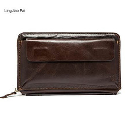 beads handbags UK - LingJiao Pai Long Men Wallet Male Leather Travel Credit Card Wallet Zipper Cell Phone Pocket Handbag