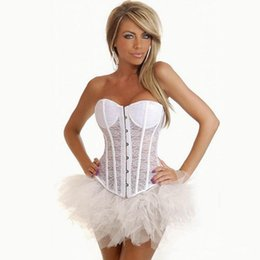 dfc4abd0c New Sexy Lady Wedding Bride Corset Top Tummy Cincher Black White Lace  Hollow Out Overbust Lace-Up Corset Bustiers XS-2XL W580832