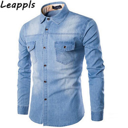 cc4ebb2b851 Leappls denim Casual Shirts Men plus Size 6XL fashion Dark men clothing Tops  dress camisa social masculina blusas 2018 autumn